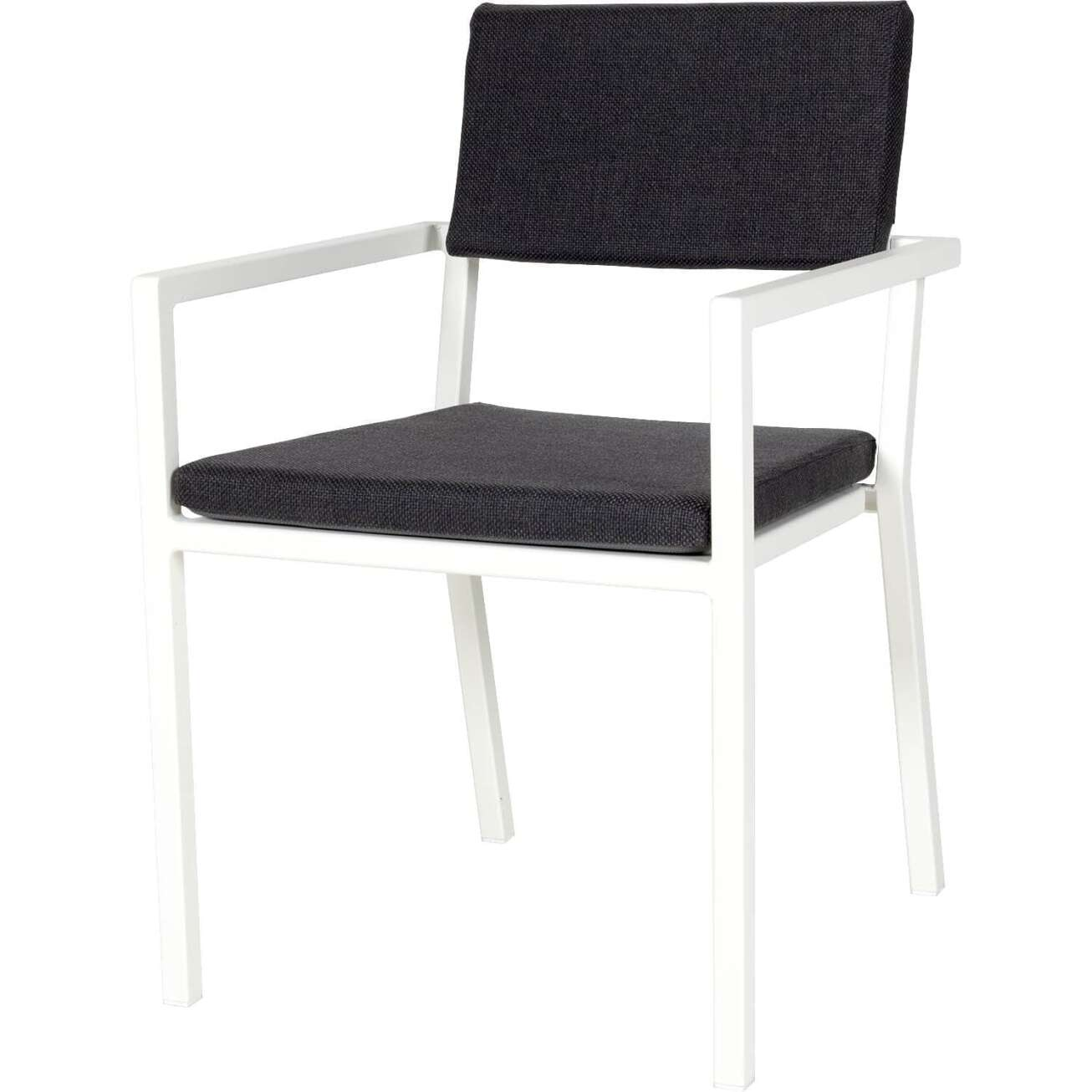 Sundays Frame spisestol i hvit aluminium med svarte puter