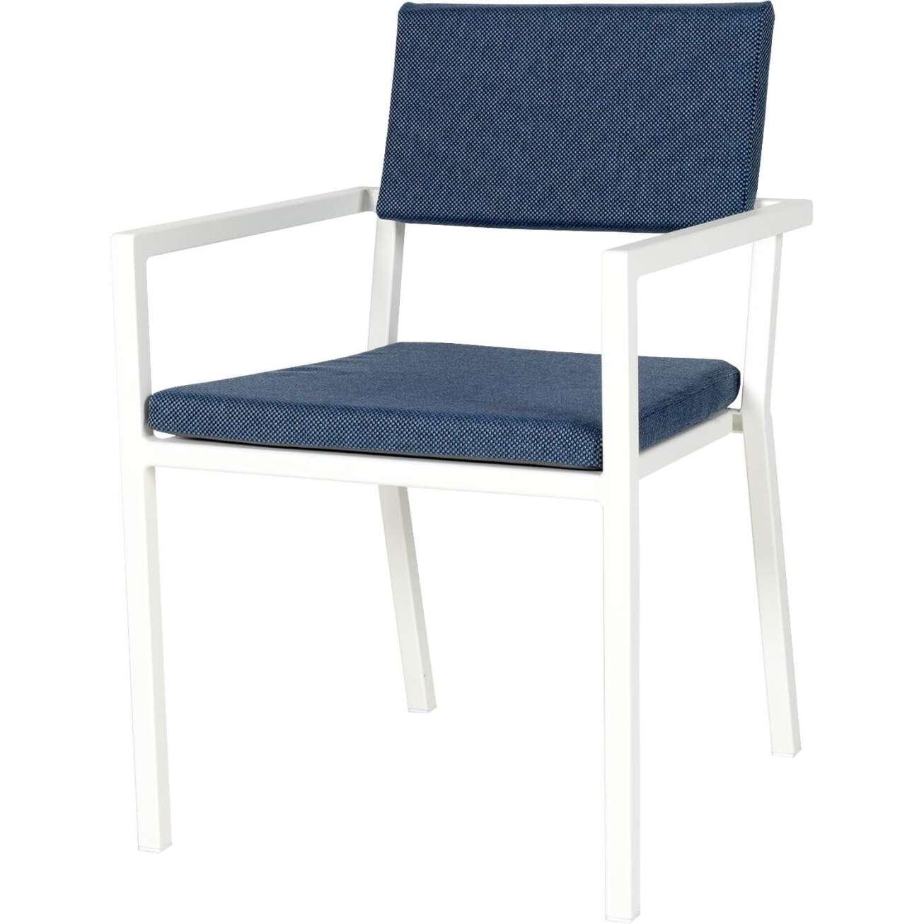 Sundays Frame spisestol i hvit aluminium med blå puter