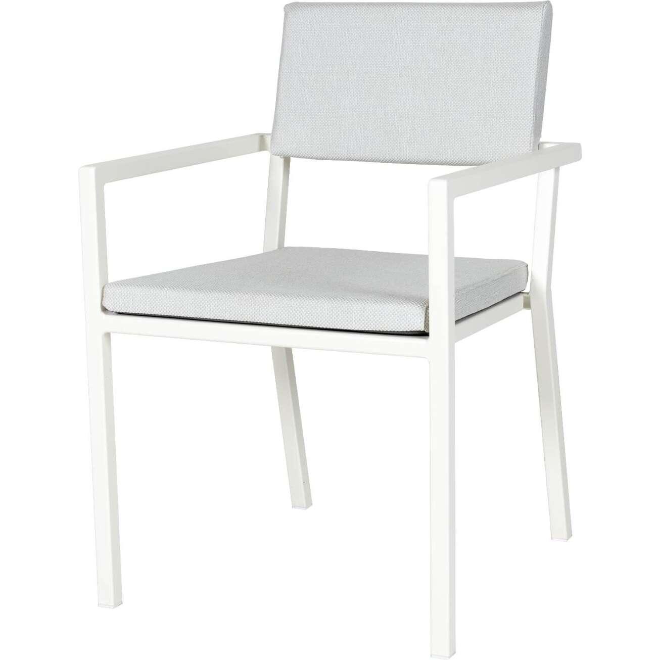 Sundays Frame spisestol i hvit aluminium med hvite puter