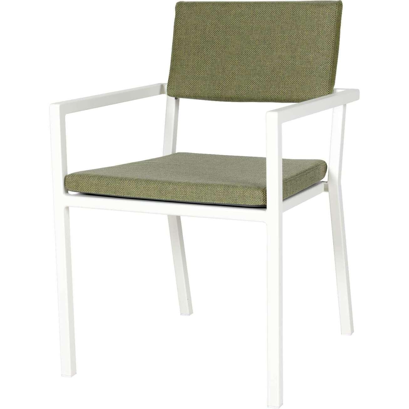 Sundays Frame spisestol i hvit aluminium med grønne puter