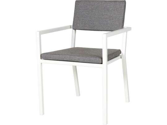Sundays Frame spisestol i hvit aluminium med grå puter