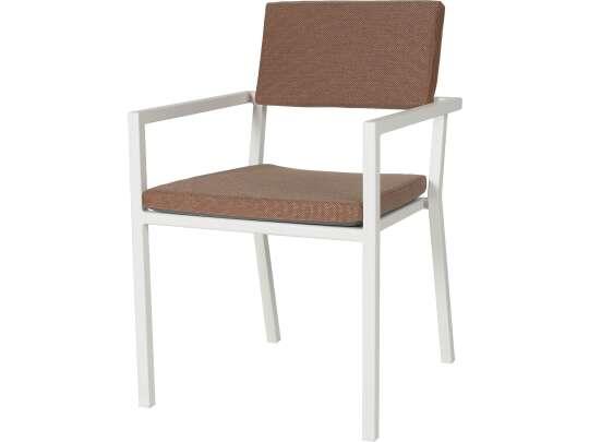Sundays Frame spisestol i hvit aluminium med brune puter
