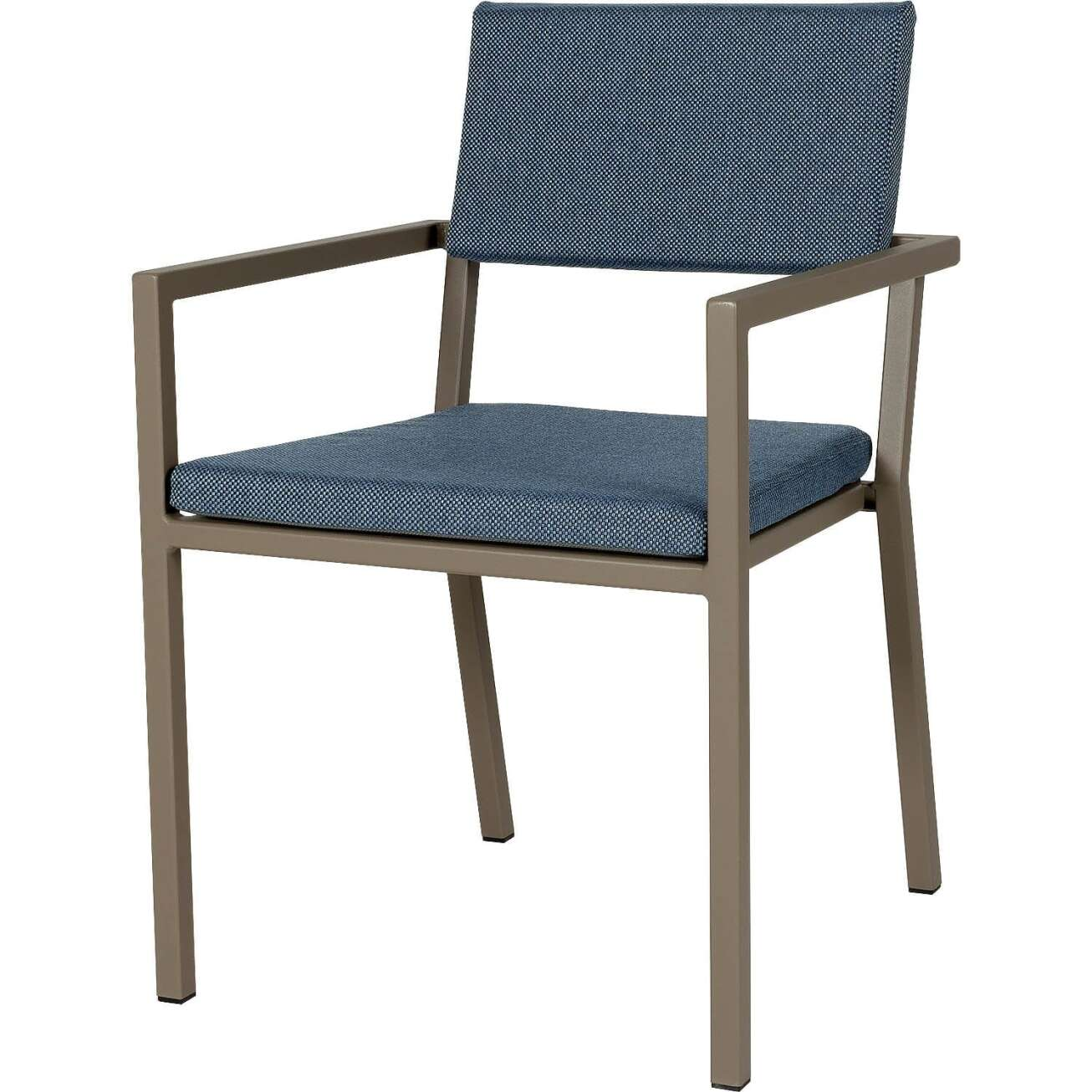 Sundays Frame spisestol i brun aluminium med blå puter