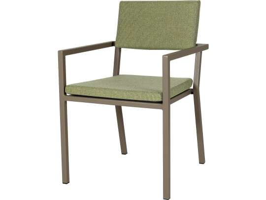 Sundays Frame spisestol i brun aluminium med grønne puter