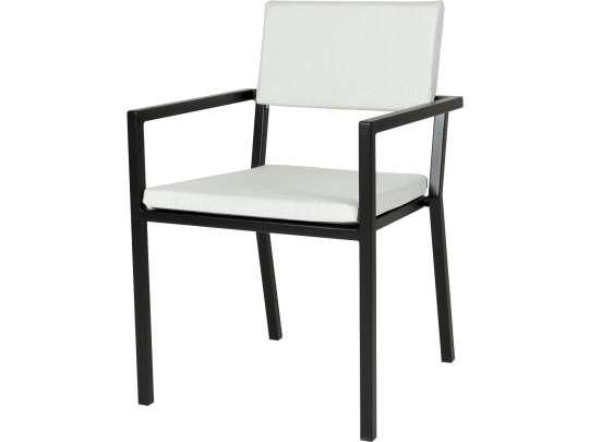 Sundays Frame spisestol i sort aluminium med hvite puter