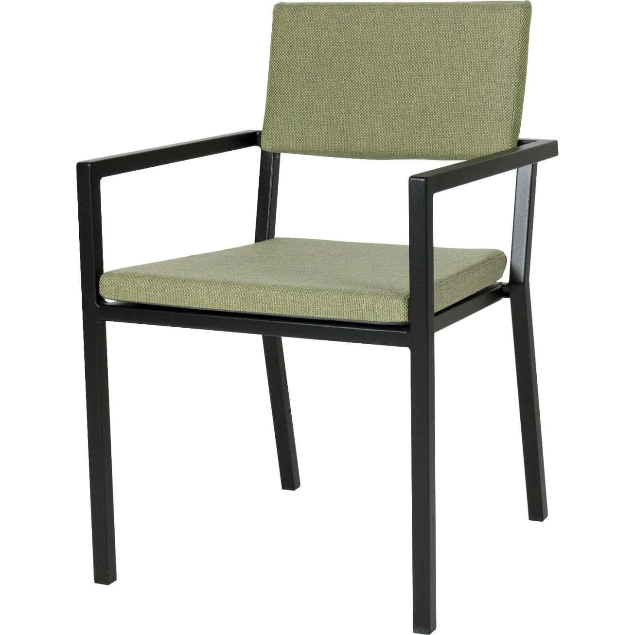 Sundays Frame spisestol i sort aluminium med grønne puter