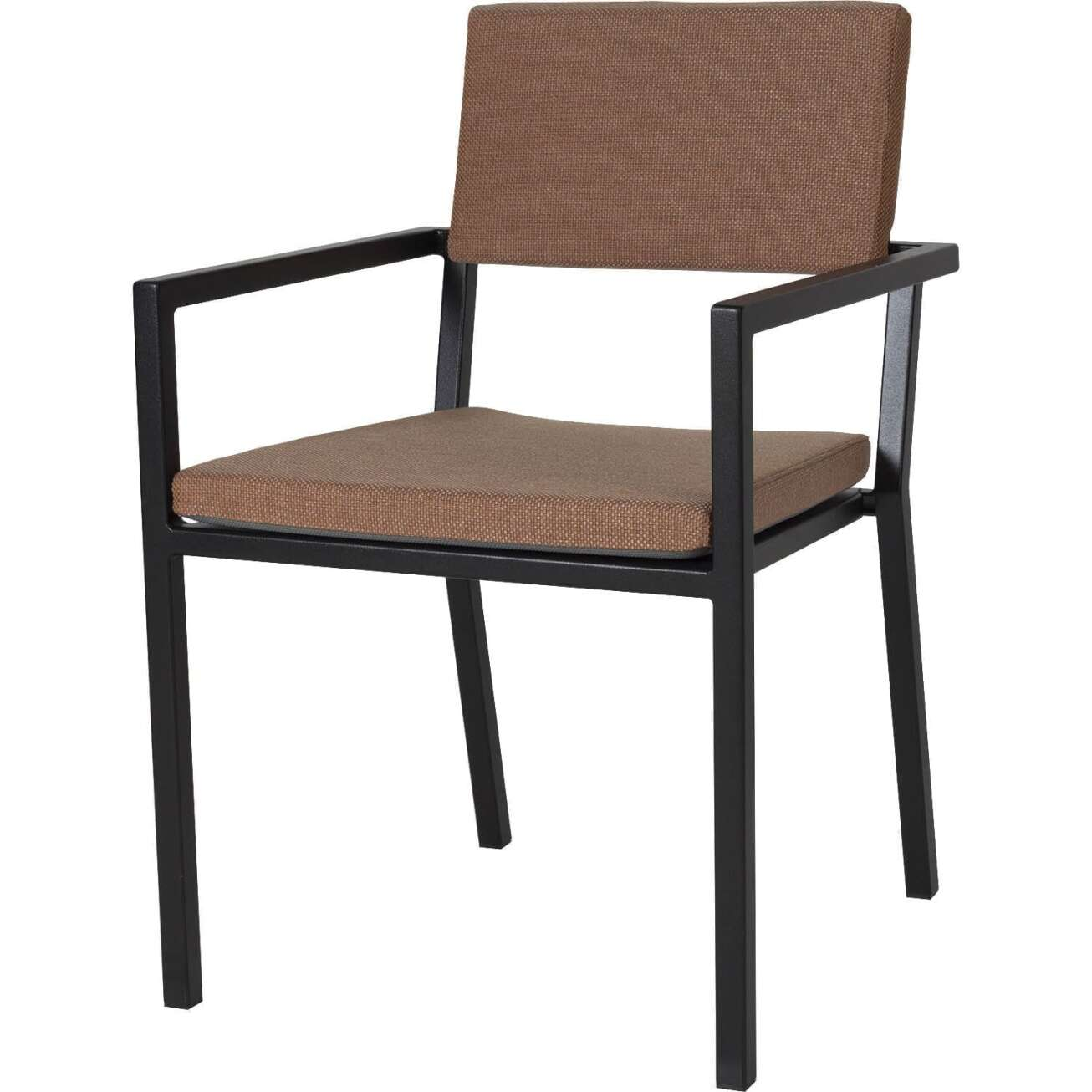 Sundays Frame spisestol i sort aluminium med brune puter