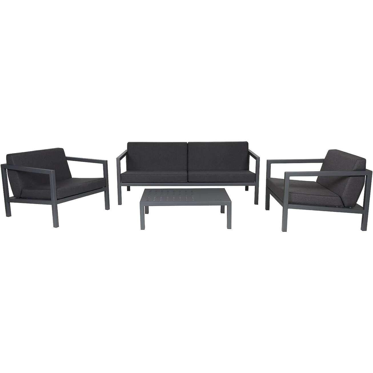 Sundays Frame sofagruppe - 2.5-seter, to stoler og sofabord i mørkgrå aluminium med svarte puter