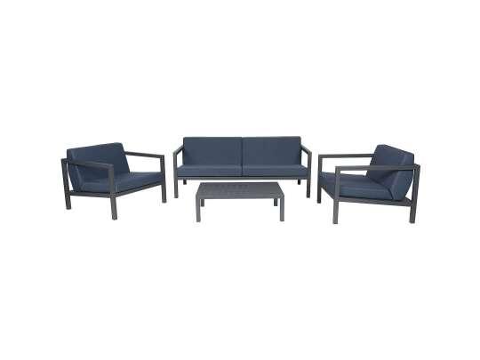 Sundays Frame sofagruppe - 2.5-seter, to stoler og sofabord i mørkgrå aluminium med blå puter