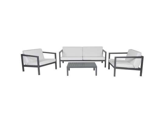 Sundays Frame sofagruppe - 2.5-seter, to stoler og sofabord i mørkgrå aluminium med hvite puter