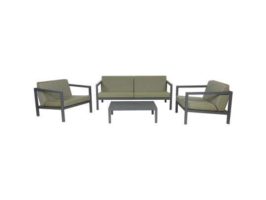 Sundays Frame sofagruppe - 2.5-seter, to stoler og sofabord i mørkgrå aluminium med grønne puter
