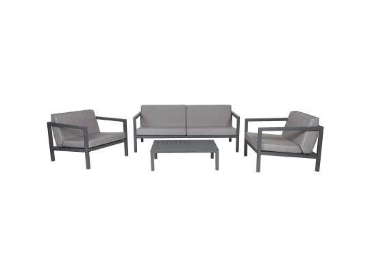Sundays Frame sofagruppe - 2.5-seter, to stoler og sofabord i mørkgrå aluminium med grå puter