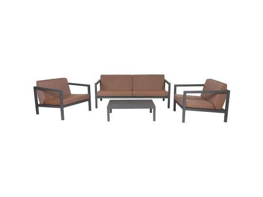 Sundays Frame sofagruppe - 2.5-seter, to stoler og sofabord i mørkgrå aluminium med brune puter