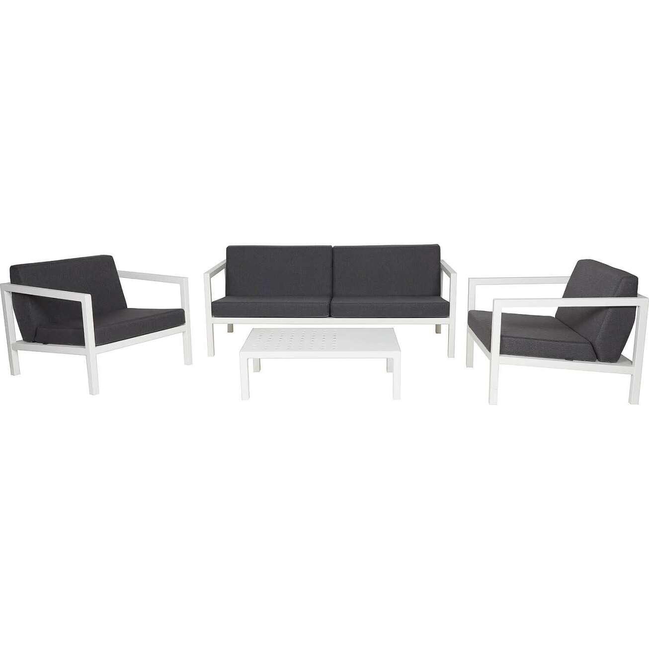 Sundays Frame sofagruppe - 2.5-seter, to stoler og sofabord i hvit aluminium med svarte puter