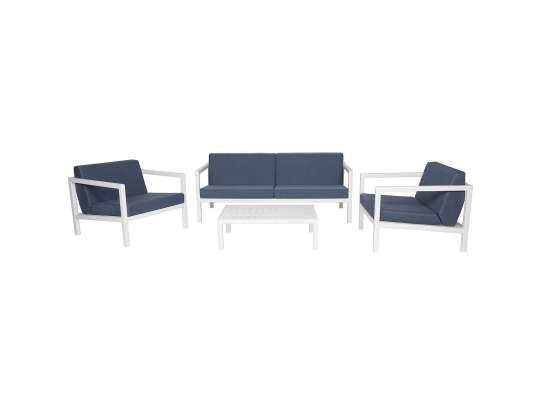 Sundays Frame sofagruppe - 2.5-seter, to stoler og sofabord i hvit aluminium med blå puter