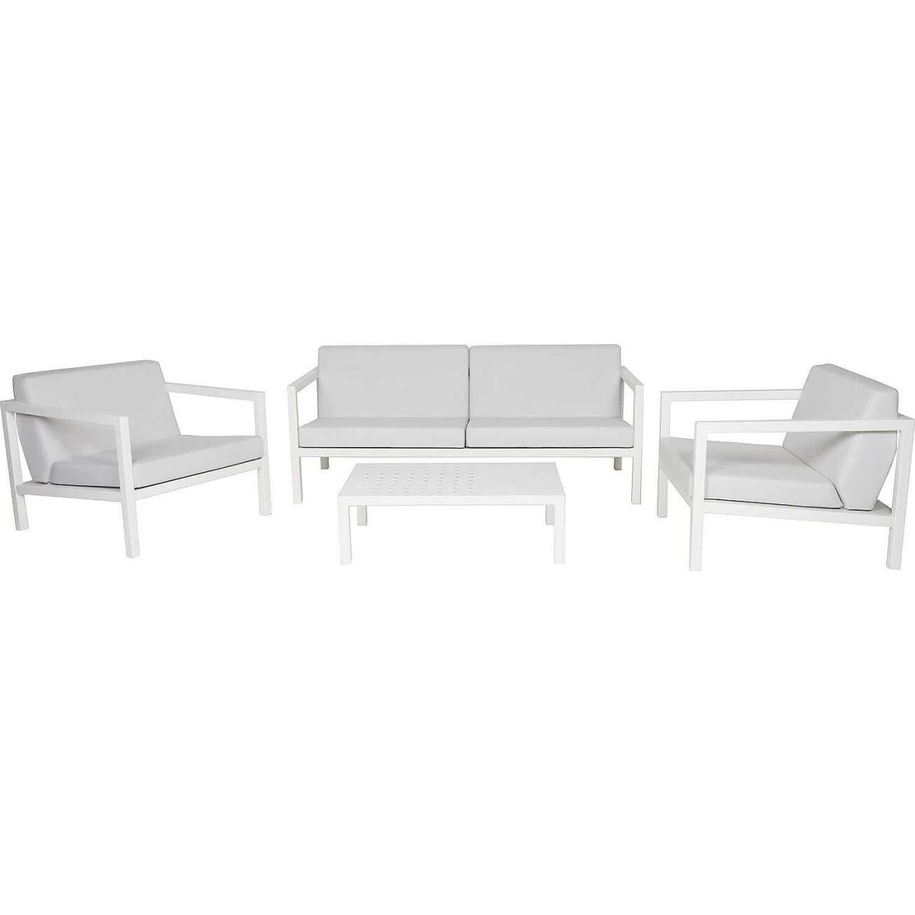 Sundays Frame sofagruppe - 2.5-seter, to stoler og sofabord i hvit aluminium med hvite puter