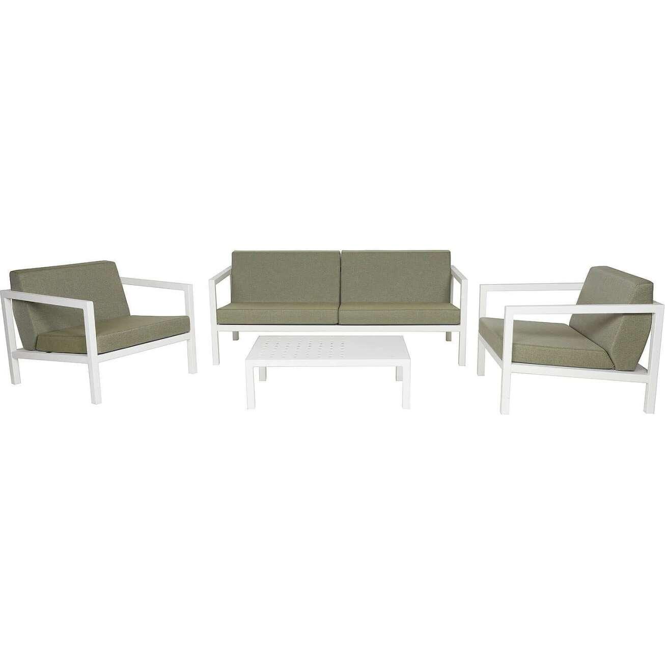 Sundays Frame sofagruppe - 2.5-seter, to stoler og sofabord i hvit aluminium med grønne puter