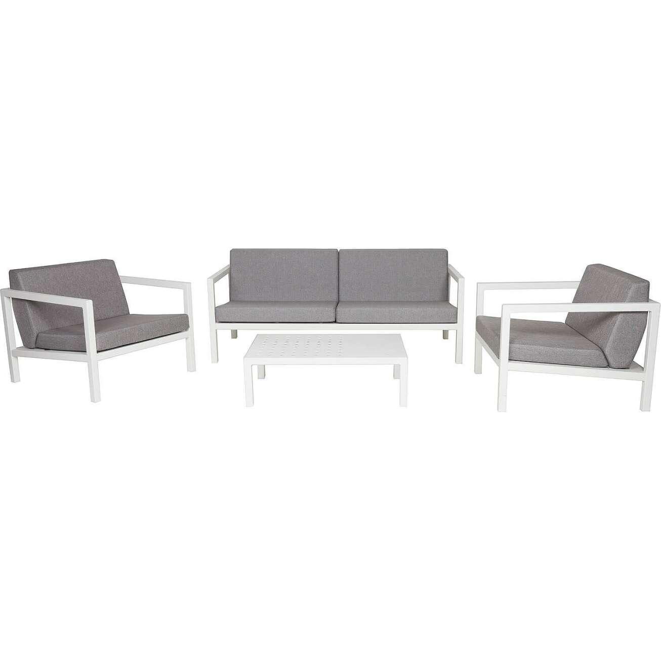 Sundays Frame sofagruppe - 2.5-seter, to stoler og sofabord i hvit aluminium med grå puter