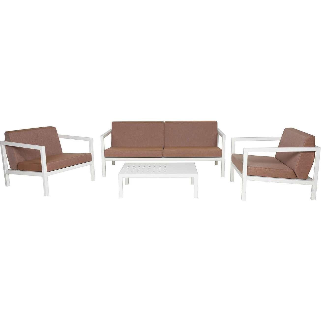 Sundays Frame sofagruppe - 2.5-seter, to stoler og sofabord i hvit aluminium med brune puter