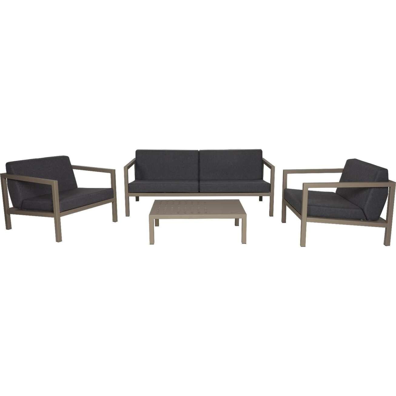 Sundays Frame sofagruppe - 2.5-seter, to stoler og sofabord i brun aluminium med svarte puter
