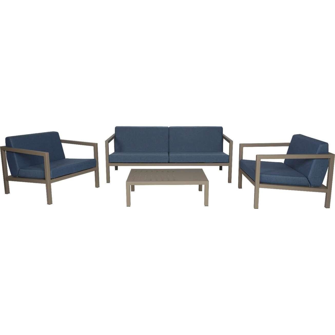 Sundays Frame sofagruppe - 2.5-seter, to stoler og sofabord i brun aluminium med blå puter