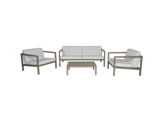 Sundays Frame sofagruppe - 2.5-seter, to stoler og sofabord i brun aluminium med hvite puter