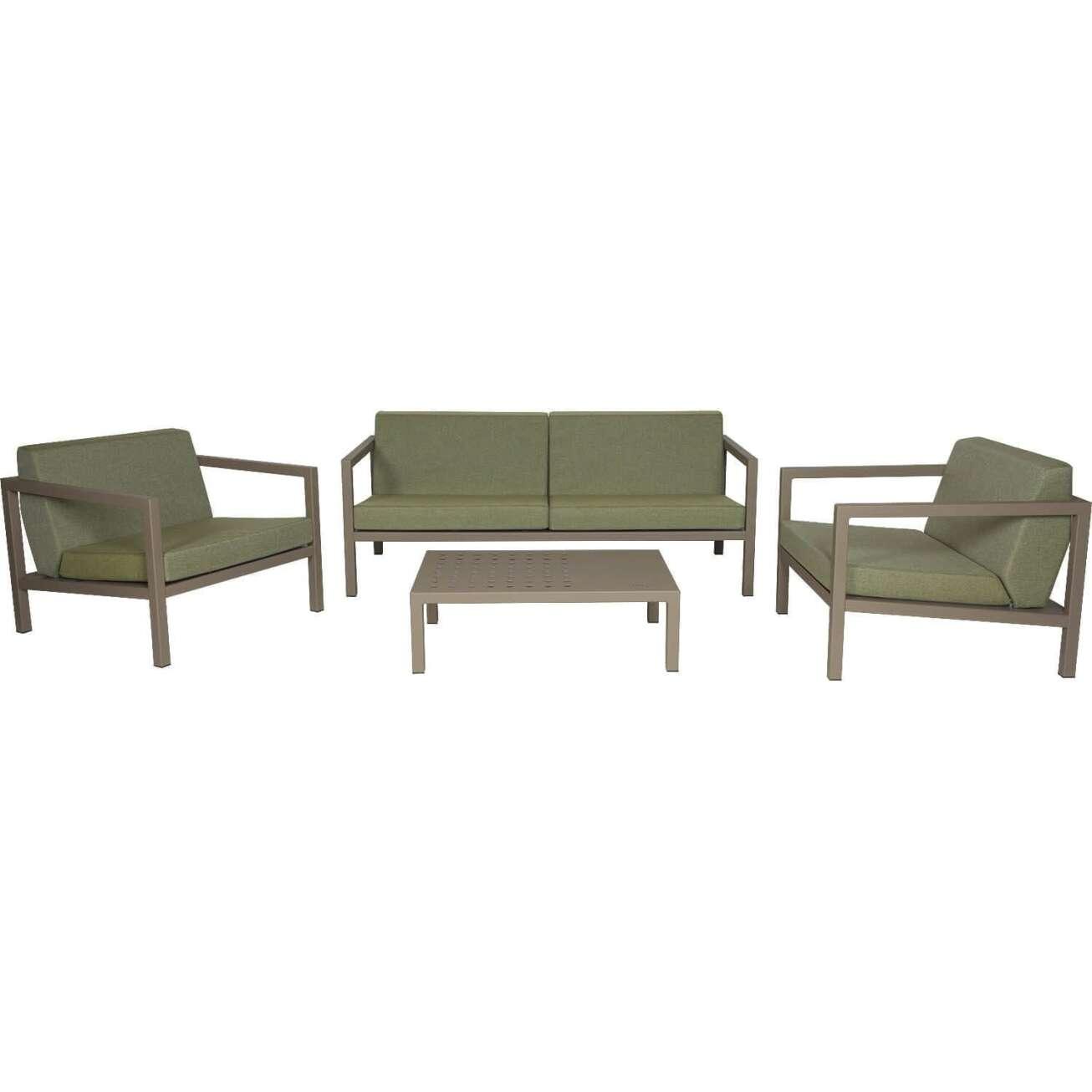 Sundays Frame sofagruppe - 2.5-seter, to stoler og sofabord i brun aluminium med grønne puter