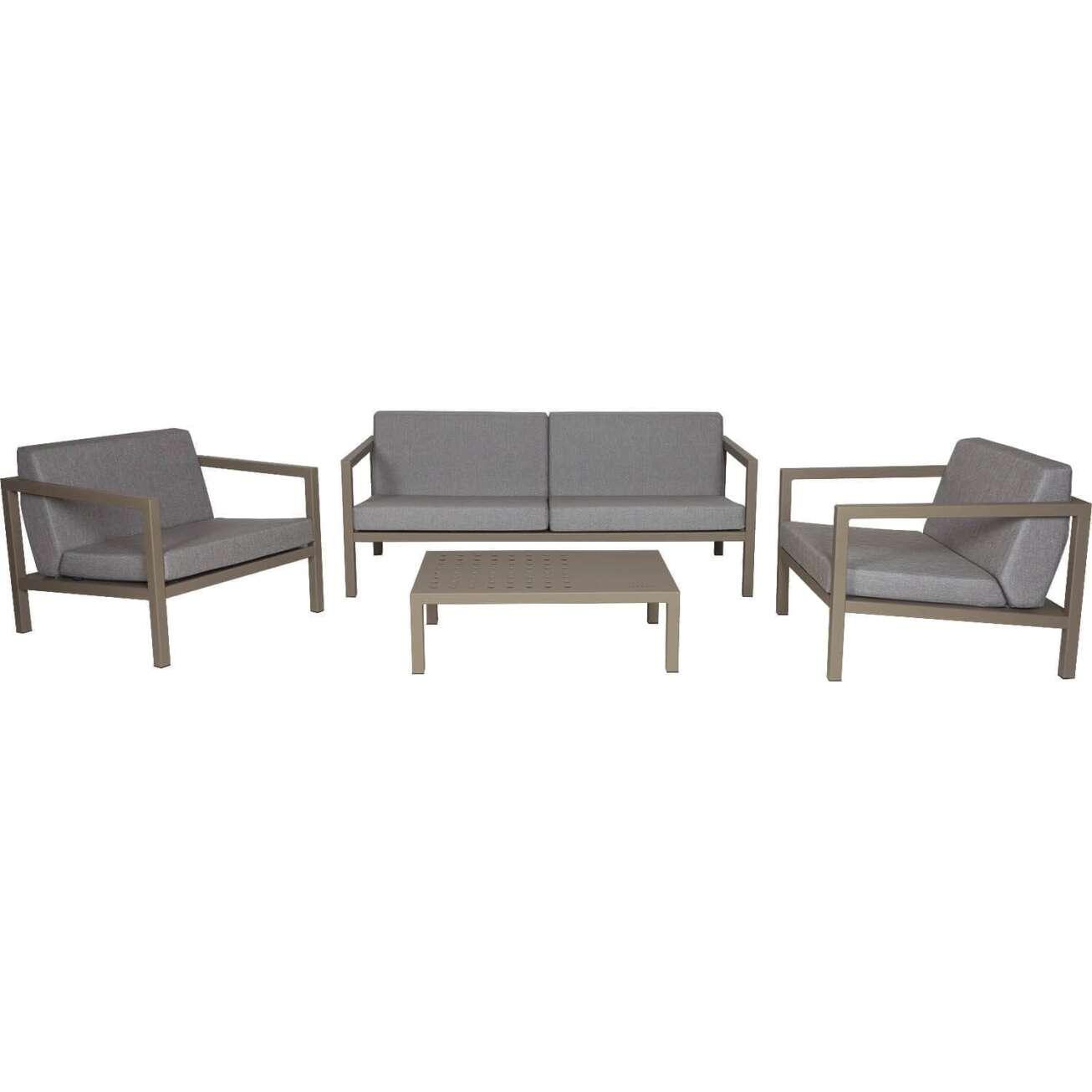 Sundays Frame sofagruppe - 2.5-seter, to stoler og sofabord i brun aluminium med grå puter