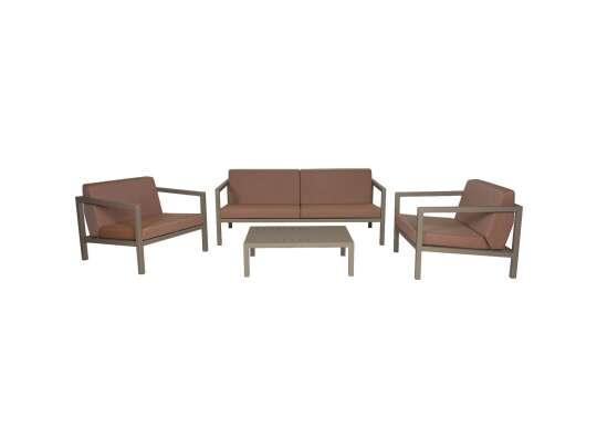 Sundays Frame sofagruppe - 2.5-seter, to stoler og sofabord i brun aluminium med brune puter