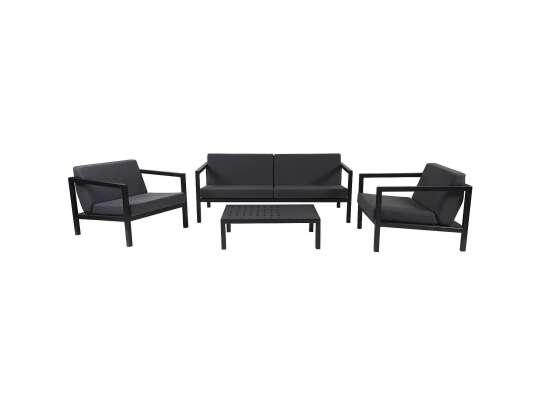 Sundays Frame sofagruppe - 2.5-seter, to stoler og sofabord i sort aluminium med svarte puter