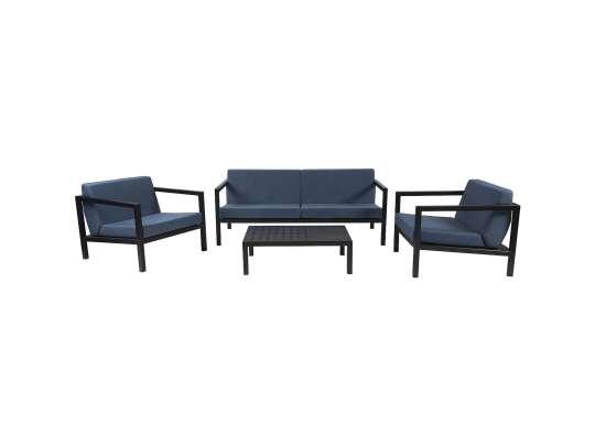 Sundays Frame sofagruppe - 2.5-seter, to stoler og sofabord i sort aluminium med blå puter
