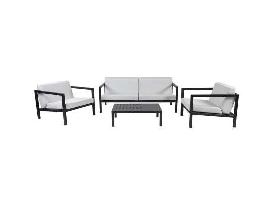 Sundays Frame sofagruppe - 2.5-seter, to stoler og sofabord i sort aluminium med hvite puter