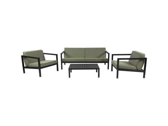 Sundays Frame sofagruppe - 2.5-seter og to stoler og sofabord i sort aluminium med grønne puter