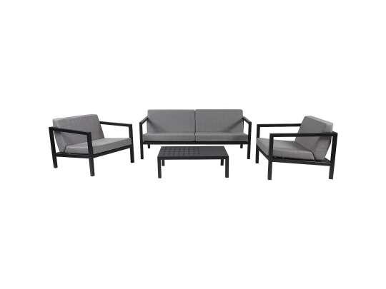 Sundays Frame sofagruppe - 2.5-seter og to stoler og sofabord i sort aluminium med grå puter