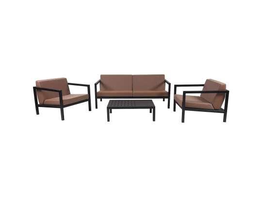 Sundays Frame sofagruppe - 2.5-seter og to stoler og sofabord i sort aluminium med brune puter