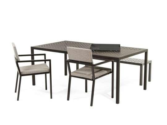 Sundays spisegruppe - spisestoler, spisebord og spisebenk i brun aluminium med lysgrå puter