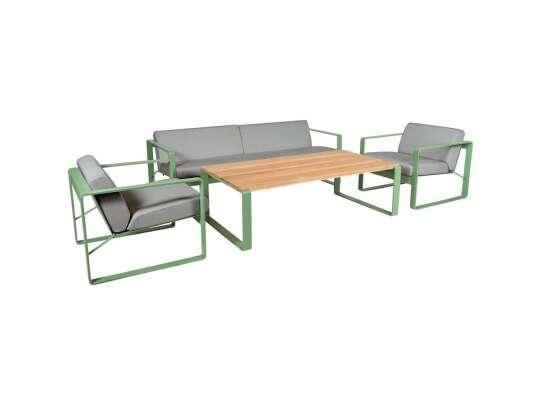 Lysegrønn sofagruppe satt sammen av treseter, to stoler og bord med teakplate
