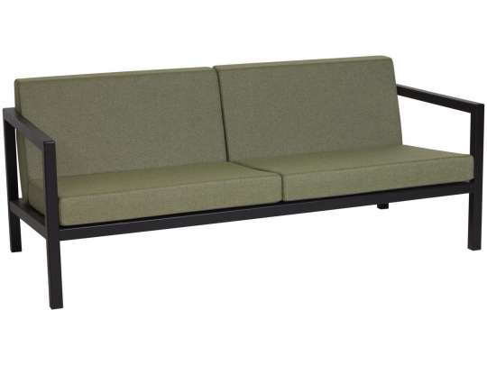 Sundays 2.5-seter i sort aluminium med grønne puter