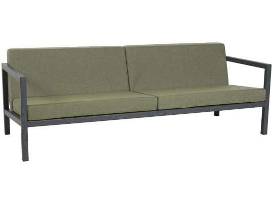 Sundays Frame 2.5-seter i mørkgrå aluminium med grønne puter