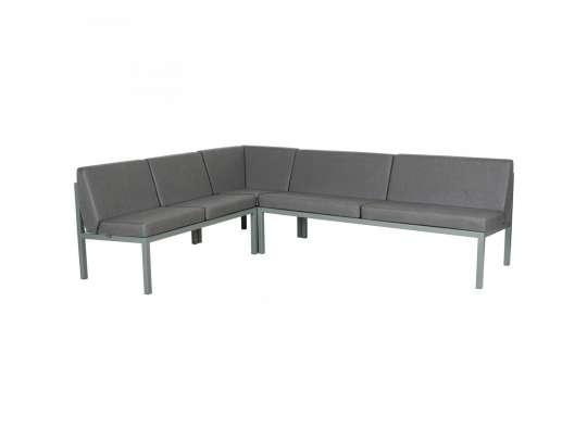 Sundays Frame Multi sofa hjørnegruppe i mørkgrå aluminium med svarte puter