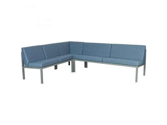 Sundays Frame Multi sofa hjørnegruppe i mørkgrå aluminium med blå puter