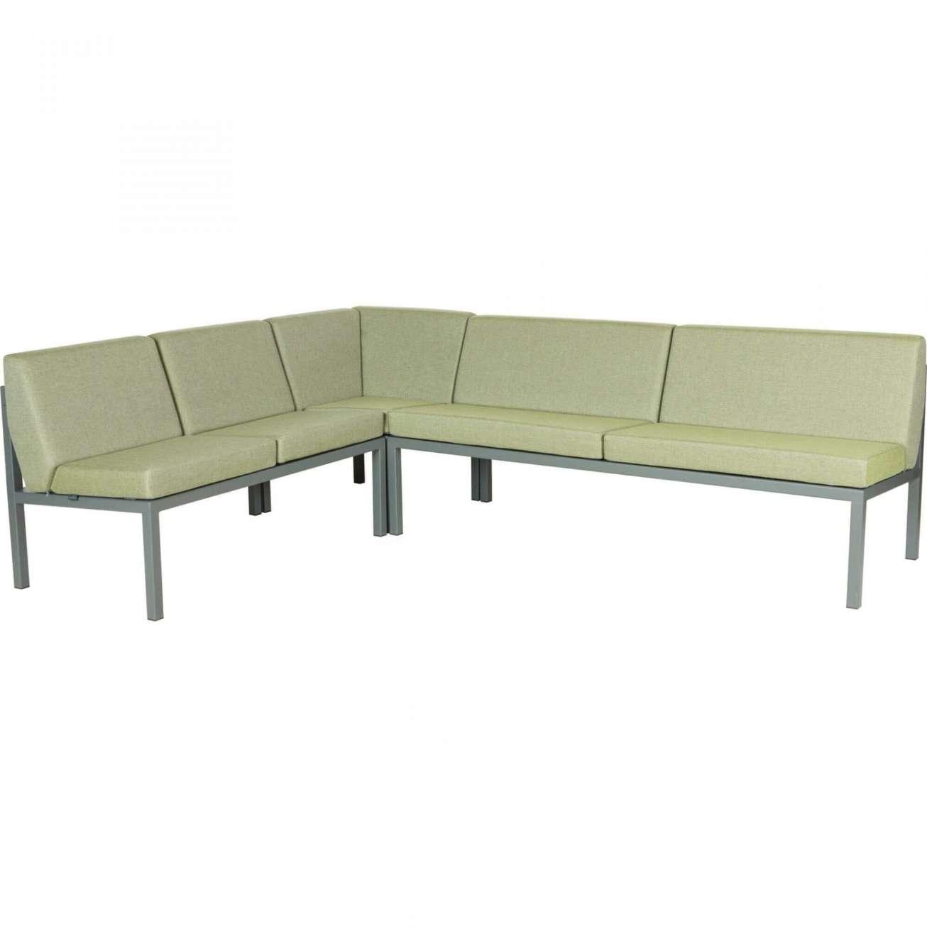 Sundays Frame Multi sofa hjørnegruppe i mørkgrå aluminium med grønne puter