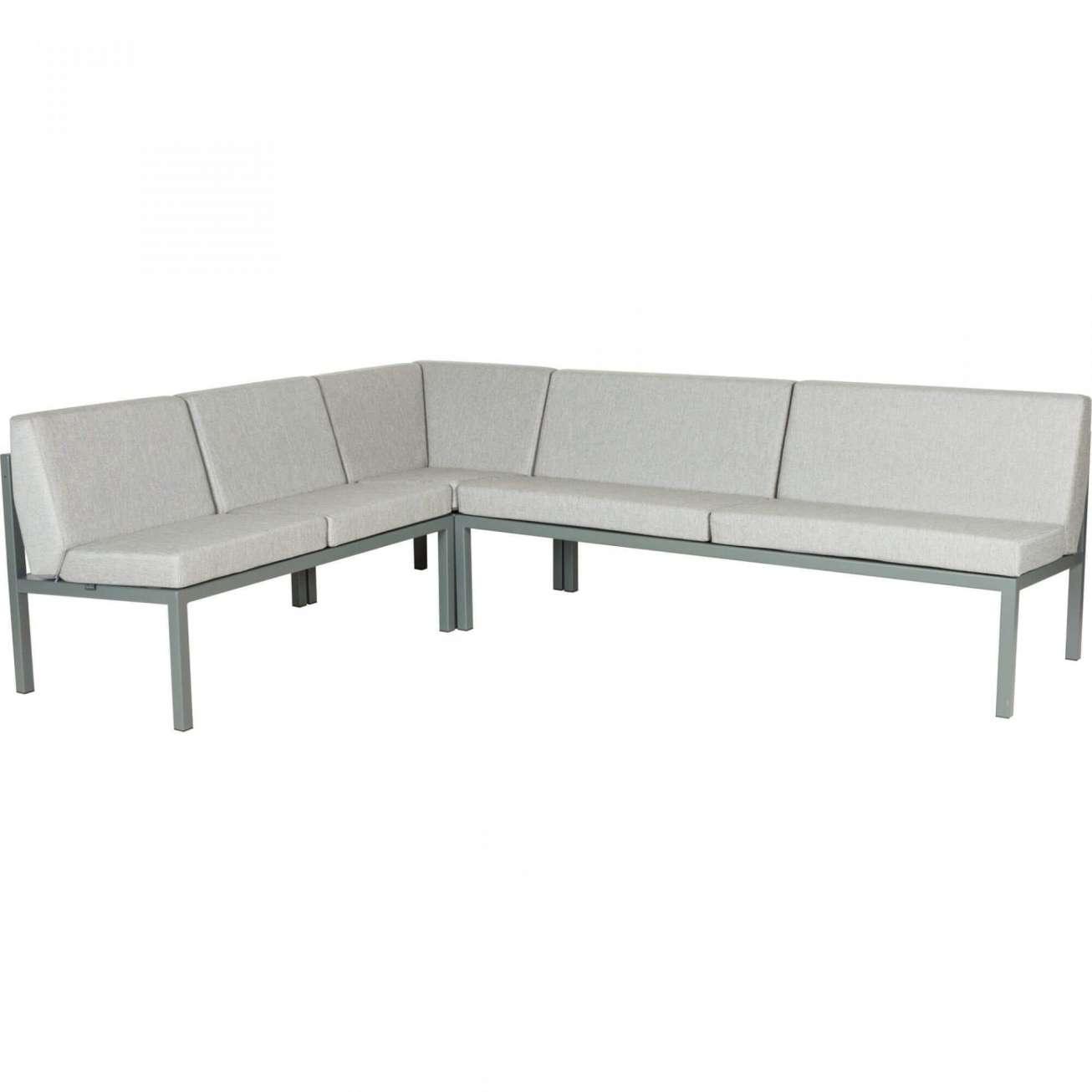 Sundays Frame Multi sofa hjørnegruppe i mørkgrå aluminium med grå puter