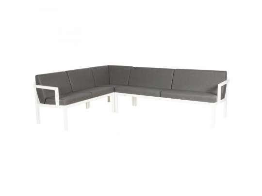 Sundays Frame Multi sofa hjørnegruppe i hvit aluminium med grå puter