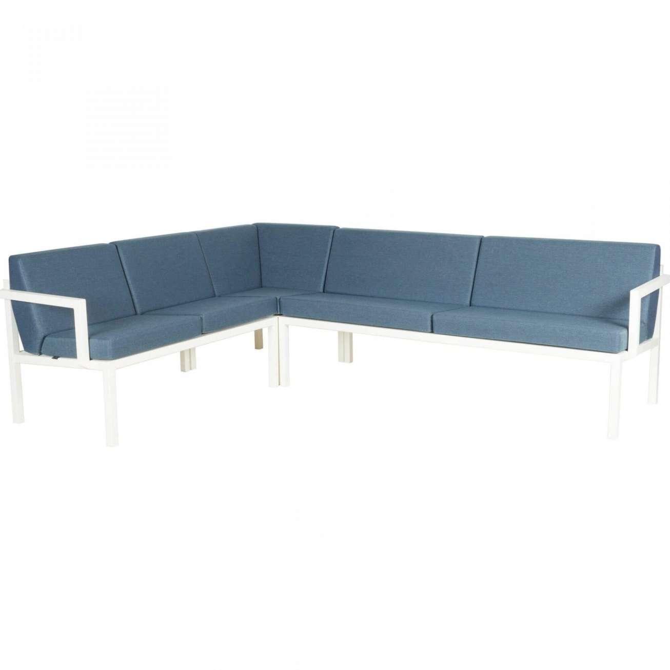 Sundays Frame Multi sofa hjørnegruppe i hvit aluminium med blå puter