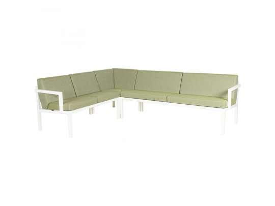 Sundays Frame Multi sofa hjørnegruppe i hvit aluminium med grønne puter