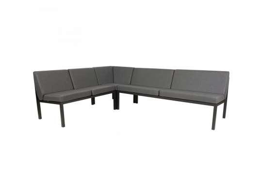 Sundays Frame Multi sofa hjørnegruppe i sort aluminium med grå puter