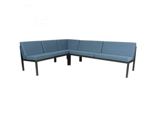 Sundays Frame Multi sofa hjørnegruppe i sort aluminium med blå puter