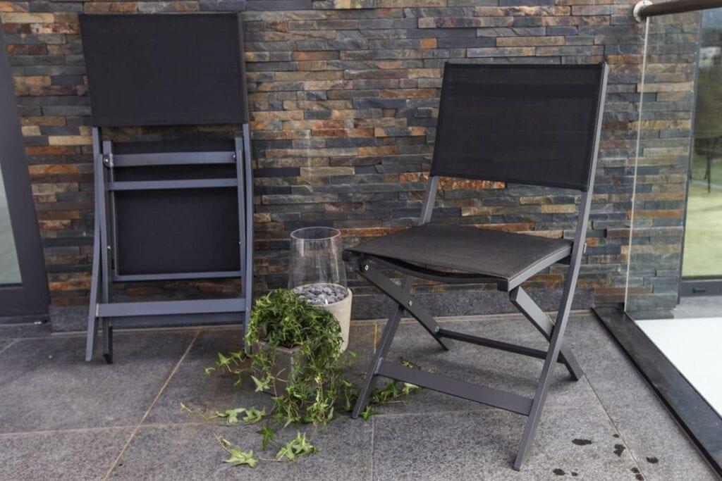 Gardenart sammenleggbare klappstoler i aluminium og textilene, med gasslykt og plante