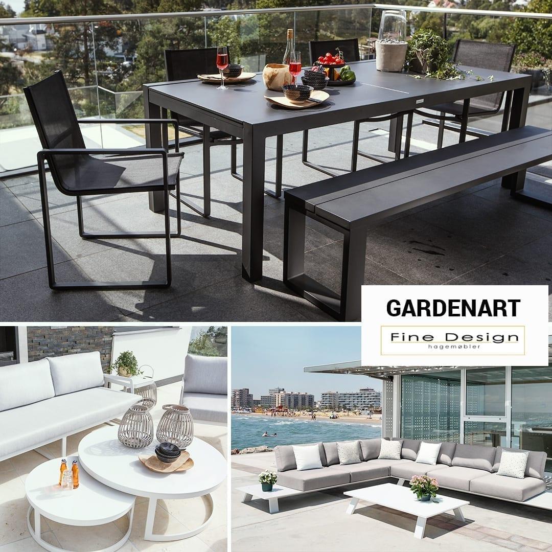 Gardenart spisebord, små, runde bord og lave salongbord